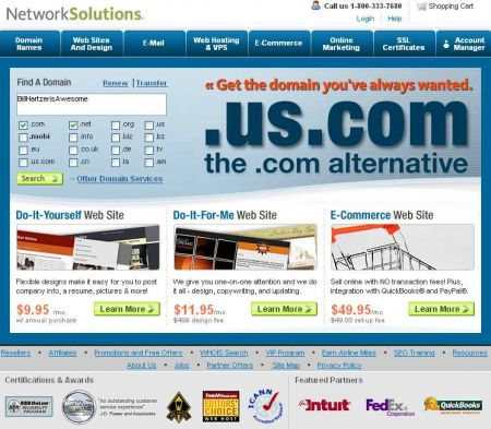 Network Solutions Home Page
