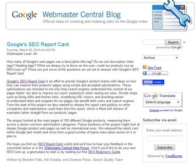 google-seo-report-card