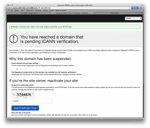 icann email verification notice website offline