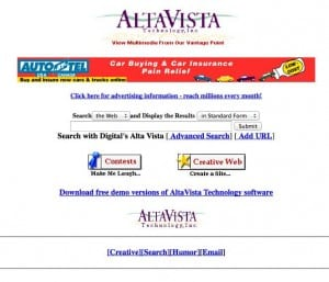 altavista search engine, circa 1996