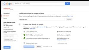 Google Domains Transfer process