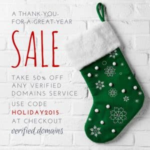 verified domains holiday deal