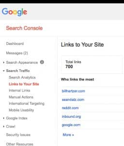 google links to your site