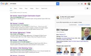 Bill Hartzer's Google search results