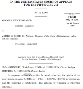 Google vs. JAMES M. HOOD, III, Attorney General of the State of Mississippi