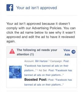 facebook disapproved ad