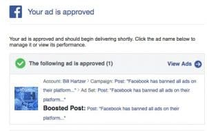 facebook boosted post approved