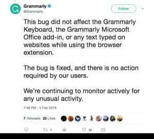 grammarly statement on Twitter