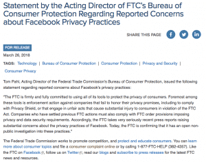 FTC Statement Facebook Privacy Practices