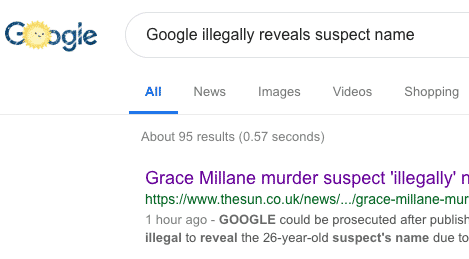 Google illegally reveals suspect name