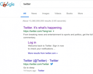 Google search results for Twitter